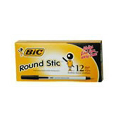 BIC PENS ROUND STIC BLACK MEDIUM 12 CT